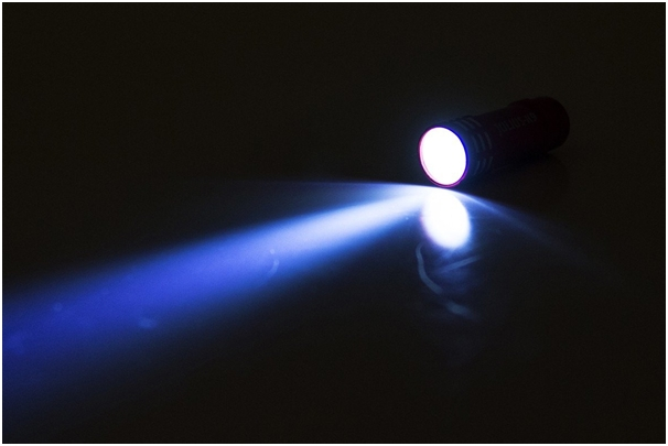 LED bullet light being used in the dark