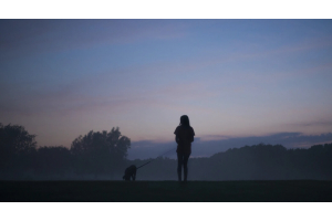woman walking dog in a field at dusk