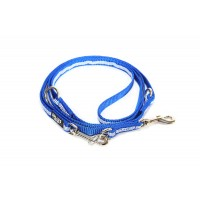 IDC Adjustable Synthetic Tubular Webbing Narrow Dog Lead - 2.2 m - Blue
