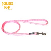 IDC Classic Synthetic Tubular Webbing Narrow Dog Lead - Pink - With Handle