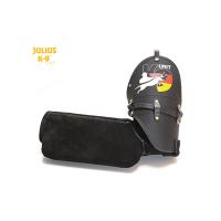 Leather K9 Sport sleeve - Soft, BLACK, German flag