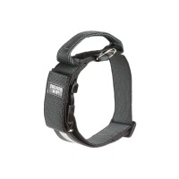 Dog Safety Collar with Handle & Reflective Strip - Black - Large (50mm)