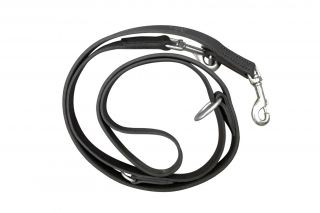 black double leash in leather
