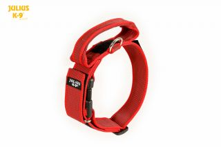 Color & Gray® Dog Collar With Handle - Red - Small