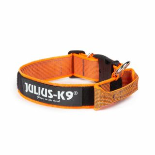 Color & Gray® Dog Collar With Handle - Orange - Small