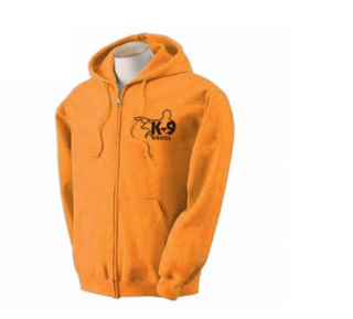 K9 Units Hoodie With Full Zip, Size: L, Color: Orange