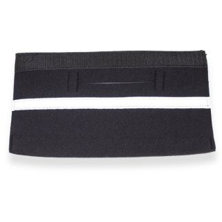 Black neoprene dog harness strap cover with reflective white edging