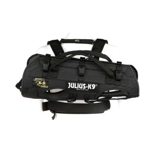 side view of black dog carrier harness