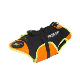 black and orange dog vest and life jacket