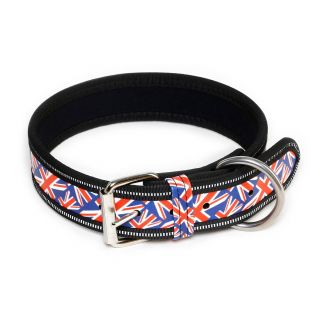 leather union jack dog collar