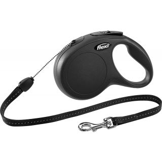 black retractable dog lead with grip handle