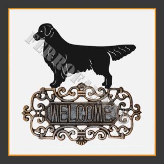 Golden Retriever Welcome Sign