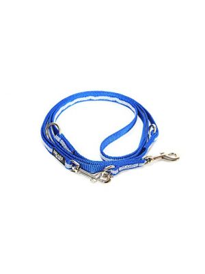 IDC Adjustable Synthetic Tubular Webbing Thick Dog Lead - 2.2 m - Blue
