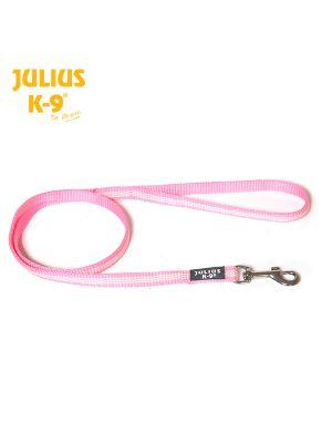 IDC Classic Synthetic Tubular Webbing Narrow Dog Lead - Pink - With Handle