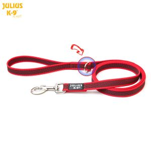 K9 Super grip leash - Red-Gray - With Handle + O ring 20 mm